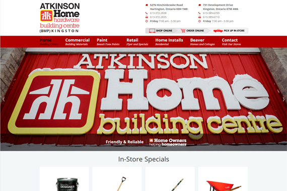Revue Design, Belleville - Website Design for Atkinson Home Hardware Building Centre